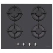 Plita incorporabila Dominox DHG 604 4G BK F C 106.0490.237, 4 arzatoare gaz, 60cm, Aprindere electronica la buton, Valva de siguranta, Arzatoare si gratare fonta, Sticla neagra