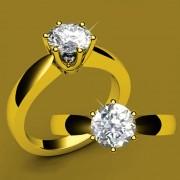 Anillo De Compromiso Solitario Fashion Boutique De México S30 De Oro Amarillo De 14Kt Con Diamante Natural Certificado De .18ct