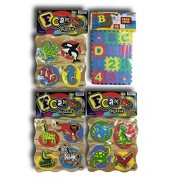 Foam Soft EVA Tiles with Alphabet and Numbers in bundle combo with 3 sets of Educational puzzles with Wood Grain Finish. Great birthday party favors. B10