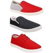 Chevit Combo Pack of 3 Loafers With Sneaker Shoes For Men (Red Grey)