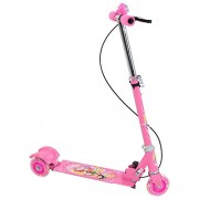 Tabu Toys World Boy's and Girl's 3 Wheeler Scooter or Cycle Height Adjustable & Foldable with Led Lights In Wheel,Brake & Bell 10 Years (Pink)