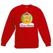 Bellatio Decorations Kersttrui oranje kat / poes kerstbal rood voor jongens en meisjes 5-6 jaar (110/116) - kerst truien kind