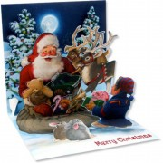 Felicitare 3d pentru iarna mos craciun si elful sau