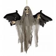 Geen Decoratie skelet pop met vleugels en licht en geluid 45 cm