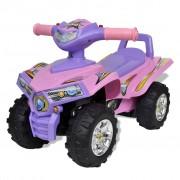 vidaXL Ružovo fialová detská odrážacia štvorkolka s klaksónom a svetlom