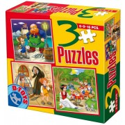 Puzzle D-Toys - Pinocchio, Hansel and Gretel, Blanche Neige and the Seven Dwarfs, 6/9/16 piese (Dtoys-50922-BS-08)