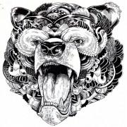 Tatuaj temporar -Urs elemente tribale- 24X22cm