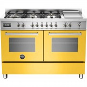 Bertazzoni PRO1206 Gasspis 120 cm, 2 ugnar, 6 brännare + elektrisk tepanyaki, Gul