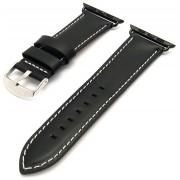 Apple doplňky Černý kožený řemínek s bílým prošíváním pro Apple 42 mm