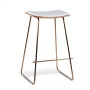 Set of 2 - Yvonne Potter Replica Y Porter Nordberg Bar Stool 73cm - Rose Gold Frame - Natural Veneer White Cushion Seat
