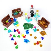 Treasure Set Compatible for LEGO Chest Diamonds Ore Coin Gold Bars Block Toy