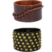 Disco Casual Wear 100 Genuine Dark Brown Handcrafted Leather Adjustable Wrist Band Strap Combo Pack Of 2 Bracelet Boys Men