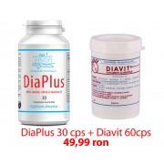 Pachet Diaplus 30 cps + Diavit, Tratament Natural Eficient Pentru Diabet