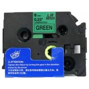 Banda compatibila Brother TZ-711 / TZe-711, 6mm x 8m, text negru / fundal verde