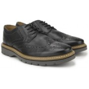 Clarks Newkirk Wing Black Leather lace up For Men(Black)