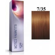 Wella Professionals Vopsea permanenta Wella Professionals Illumina Color 7/35 Blond Mediu Auriu Mahon 60ml