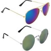 Royalmede Aviator, Round Sunglasses(Blue, Green)