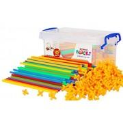 Liveinu 600 PCs Building Bricks Toys Set Plastic Straws & Connectors with Container Kit