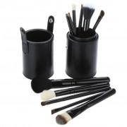 TRIBALSENSATION Conjunto de copo em pele preta e 12 pincis de maquilhagem Pelo p