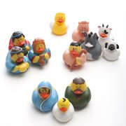 One Dozen (12) Rubber Duckie Ducky Duck Christmas Nativity Scene by Fun Express