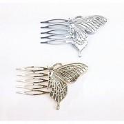 yueton 2pcs Gold and Silver Butterfly Shape Fashion Ladies Bride Wedding Hair Combs Headdress Hair Pins