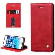 Para IPhone 5 Y 5S Y Caballo Loco Textura De Funda De Cuero Flip Horizontal Con Ranuras Para Tarjetas Y Cartera (rojo)