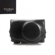 kinokoo Canon PU Leather Camera Case with Shoulder Strap for Canon PowerShot SX720 HS SX730 and SX740 HS (Black)