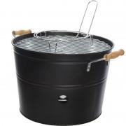 Merkloos Grote zwarte houtskool barbecue/bbq emmer 33 x 24 cm rond