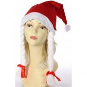 Bellatio Decorations Rode kerstmuts met witte vlechten