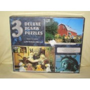 2003 Sure Loc 3 Deluxe Jigsaw Puzzles 2,250 Pieces Uniontown, Washington ~ Bears Stories & Hot Chocolate & Statue Of Liberty By Sure Loc