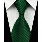 Sötétzöld nyakkendő mandzsettagombbal és díszzsebkendővel