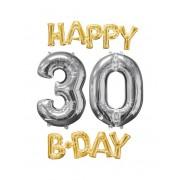 Vegaoo.es 4 Globos de aluminio Happy Bday 30 oro y plata
