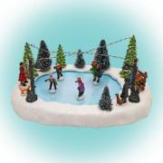 Világító korcsolyapálya gyermekekkel