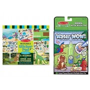 Bundle including: Melissa & Doug Habitats Reusable Sticker Pad and Melissa & Doug Water Coloring & Painting Book, (Water Wow Animal - On the Go Travel Activity)