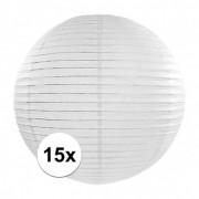 Merkloos 15x Witte luxe lampionnen rond 35 cm