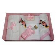 Trusou pentru botez 7 piese brodat cu figurina Minnie Mouse Little Angel roz