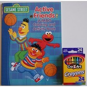 Sesame Street Active Friends Jumbo Coloring And Activity Book With Cra Z Art Crayons