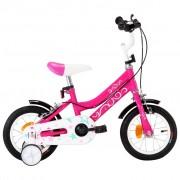 """vidaXL Bicicleta de criança roda 12"""" preto e cor-de-rosa"""