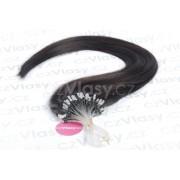 Asijské vlasy na metodu micro-ring odstín 1B Délka: 46 cm, Hmotnost: 0,5 g/pramínek, REMY kvalita