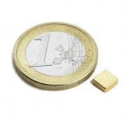 Magnet neodim bloc, 5x5x2 mm, putere 650 g, placat aur