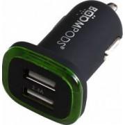 Incarcator Auto Boompods Mini 2.4A Dual USB led indicator incarcare rapida Negru