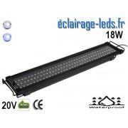 Rampe LED 18W étanche IP67 pour Aquarium Blanc et bleu 60-80cm 20V ref rpa-03