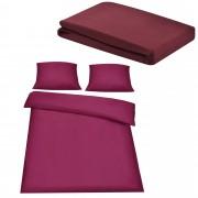 Комплект спално бельо [neu.haus]® плик (200x200cm), чаршаф (180-200x210cm) , калъф за възглавници, Бордо