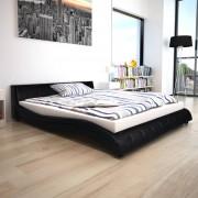 vidaXL Pat cu saltea, negru, 160 x 200 cm, piele artificială