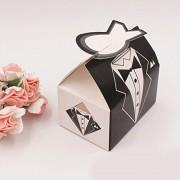 Electroprime® 100pcs Groom Tuxedo Bride Dress Candy Boxes Wedding Enement Gift Favor