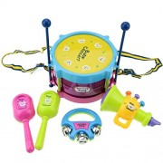 HATCHMATIC BOHS Baby Toy Drums & Percussion Musical Instruments Band Concerts Children Gift Set 5pcs Drum Trumpet Cabasa Handbell Kit: Multicolor