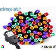 Guirlande LED 10M Multi-couleur 100 led étanche IP44 230v. ref gl-09
