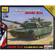Zvezda Model Kit - Abrams M1a1 Us Main Battle Tank - 1:100 Scale - 7405