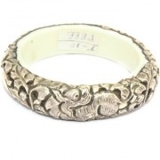 Alloyed Silver Bangle Tibetan Women Handcrafted Animal Antique Resin Inside - 01