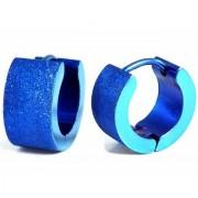 Stainless Steel Classic Plain Flat Satin Finsih Huggie Hoop Bali Ear Helix/Lobe/Cartilage Stud Royal Blue Earrings for Men